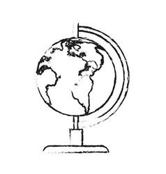 Blurred silhouette image cartoon earth globe vector