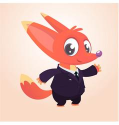 cartoon brown fox dressed up in office vector image