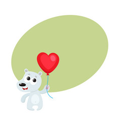 cute and funny bear holding red heart shaped vector image vector image