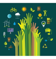 Environment and ecology banner with flat icons vector image vector image