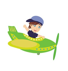 Little Boy Operating a Plane vector image