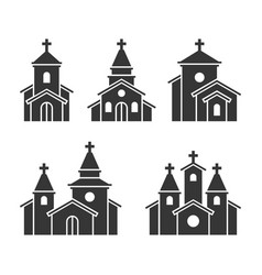 church building icons set on white background vector image vector image