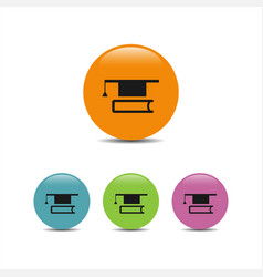 mortarboard with book icon vector image