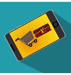 shopping online cart smartphone with screen polka vector image