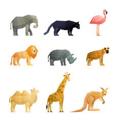 southern wild animals polygonal icons set vector image vector image