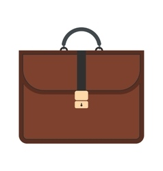 Brown business briefcase flat icon vector image vector image