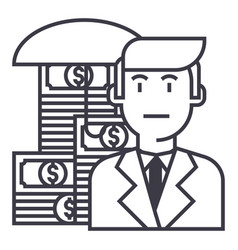 business money insurance line icon sign vector image