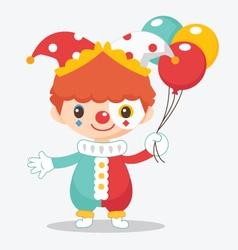 cute clown with balloon vector image