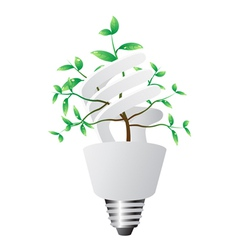 energy saving lightbulb with green plant vector image vector image