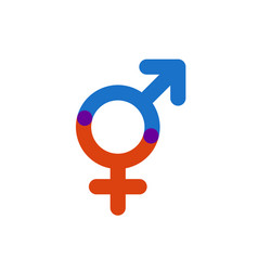 Male and female color symbol gender intersection vector