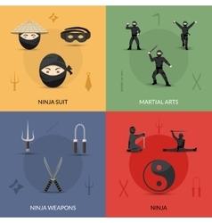 Ninja Icons Set vector image