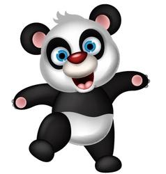 panda cartoon dancing vector image