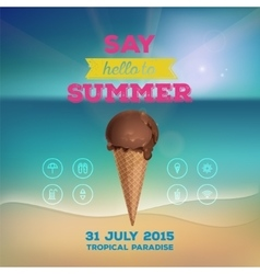Summer poster with ice cream vector image vector image