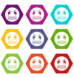 angry emoticon set color hexahedron vector image vector image