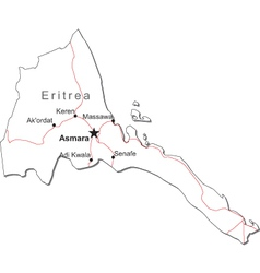 Eritrea Black White Map vector image vector image