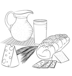line art dairy products and bread vector image vector image