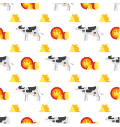 seamless pattern with cheese and cow vector image
