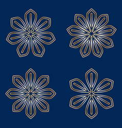 set of simple round floral golden mandala on blue vector image