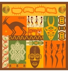 set of stylized African elements and icons vector image