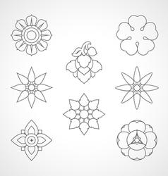 Set Thai flower symbol vector image vector image