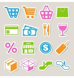 Shopping sticker icons set eps 10 vector image