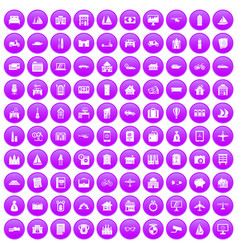 100 property icons set purple vector image