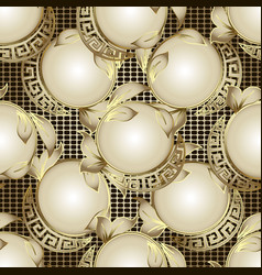 3d ornate geometric greek seamless pattern gold vector image
