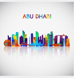 abu dhabi skyline silhouette vector image