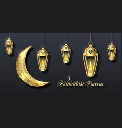 arabian poster for ramadan kareem golden lanterns vector image