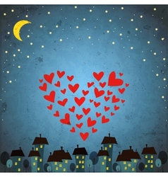 Background with night sky star and heart vector