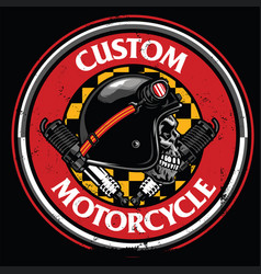 Badge design of vintage rider skull vector
