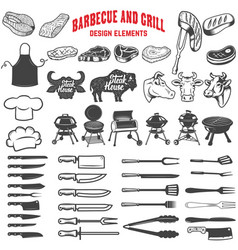 barbecue and grill design elements for logo label vector image