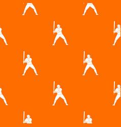 baseball player with bat pattern seamless vector image