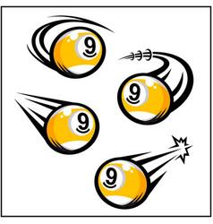 Billiard 9 ball swoosh set 4 vector