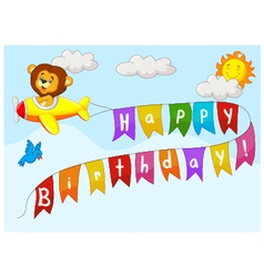 Birthday background with lion on plane vector image