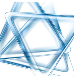 blue glossy triangles abstract tech background vector image vector image