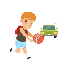 Boy playing ball in front of moving car kid in vector