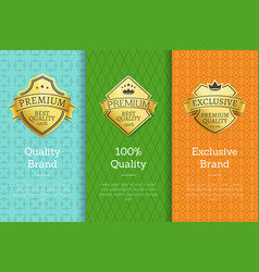 brand 100 quality exclusive golden best labels vector image