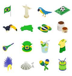 Brazil isometric 3d icons vector