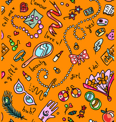 Bright orange seamless pattern with woman vector