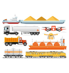 cargo transport set industrial transportation vector image