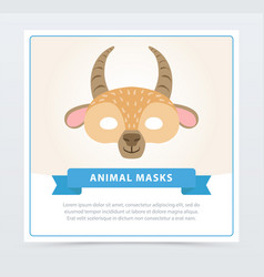 Carnival mask antelope with horns cute animal vector