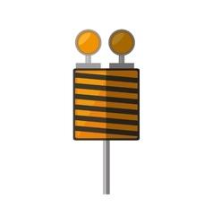 Cartoon roadblock traffic light warning vector