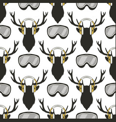 christmas deer pattern funny reideer in vector image