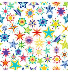 colorful cartoon stars decorative pattern vector image