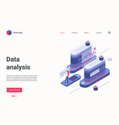 data analysis concept isometric landing page vector image