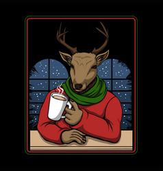 Deer drinking coffee merry christmas vector