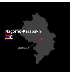 Detailed map of Nagorno-Karabakh and capital city vector image