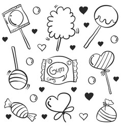 doodle of candy various hand draw collection vector image