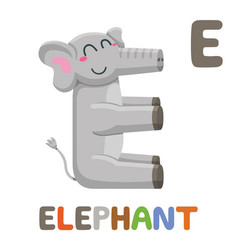 e is for elephant letter e elephant cute animal vector image